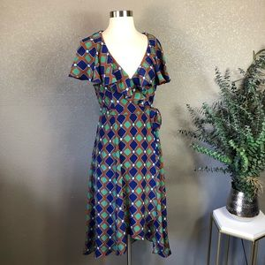 Frock! By Tracy Reese silk printed Faux Wrap Dress